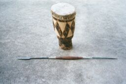 Drum from Cape Town, Masai spear from Kenya