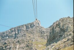 On cable car at Table Mountain